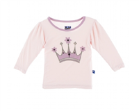 Long Sleeve Print Puff Tee in Macaroon Crown from Kickee Pants