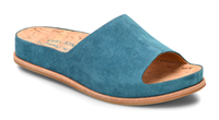 turquoise suede slip on with cork insole- sandals - free shipping
