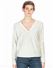 Ladies long sleeve v-neck cotton tee in ivory