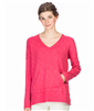 Ladies long sleeve v-neck cotton mix tee with front kangaroo pocket in rose