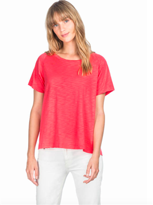 Ladies short sleeve pleat back tee in a cotton modal mix in Flamingo