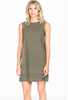 ladies knit dress in army green with boat neck and rib trim hemline