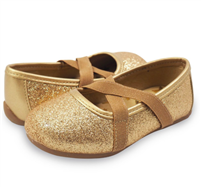 Aurora Ballet Flat in sparkle gold from Livie and Luca