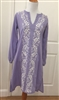 lavender cotton dress with v-neck, long sleeve and white embroidery