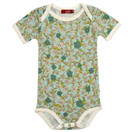 Bamboo onesie in blue floral with snaps at the leg