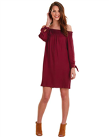 Elle Off The Shoulder Dress in Burgundy from Mudpie