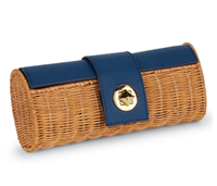 navy ratten barrel clutch with faux pebbled leather with a gold stud lock