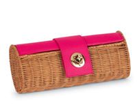 pink rattan barrel clutch with faux pebbled leather with a gold stud lock