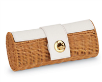 white rattan barrel clutch with faux pebbled leather with a gold stud lock