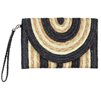 black and white stripe wheat straw envelope clutch