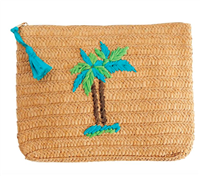 zip top braided paper straw bag with a palm tree on the front
