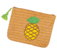 zip top braided paper straw bag with a pineapple on the front