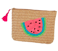 zip top braided paper straw bag with watermelon on the front