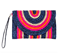 navy and pink stripe wheat straw envelope clutch