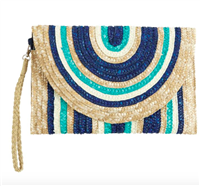 navy and white stripe wheat straw envelope clutch