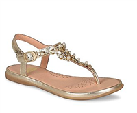 metallic gold leather flat sandals with pearl and chain embellishment