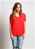 Short Sleeve v-neck Red Piko