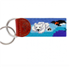 Blue needlepoint key fob with a polar bear on the front and a walrus with igloo on the back