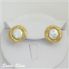 Gold Cabochon Pearl Earrings from Susan Shaw