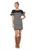 Black and cream striped dress with bell sleeve
