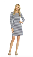 Navy and white long sleeve cotton dress with stretch