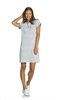 White short sleeve french terry sheath dress with faded navy stripes with gold zipper on the back