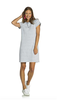 White short sleeve french terry sheath dress with faded navy steps with gold zipper on the back