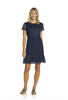 Navy lace sheath dress with gold zipper down the back