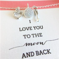 Moon and back silver necklace from Shine Life