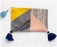 Pink, Navy and Yellow Tassel Clutch bag from Waste Not Paper