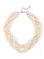 Cream Braided Pearl Collar Necklace from Zenzii