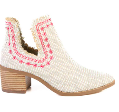 Natural fabric slip on bootie with flower embroidery with a 2 inch stacked block heel