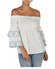 white cotton off the shoulder top with ruffle sleeve detail