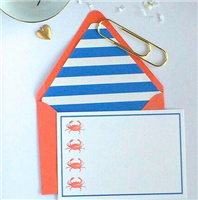 Set of 8 notecards and coordinating envelopes with crabs on the front