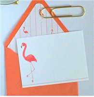 Set of 8 notecards and coordinating envelopes with flamingos on the front
