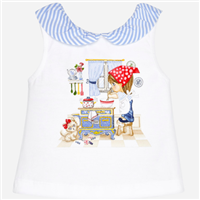 White sleeveless stretch cotton baby tee with ruffle neckline and a cute screen print image of a child cooking