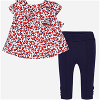 flower cotton swing top with buttons down the back and any pull on leggings with button detail at the ankle