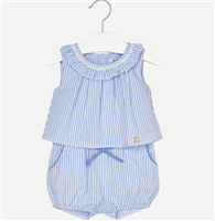 100% cottonblue and white  seersucker short playsuit with a ruffle neck and an elastic waist and legs