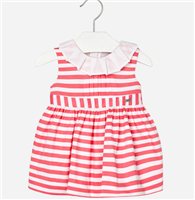 coral stripe dress with white ruffle trim at neckline