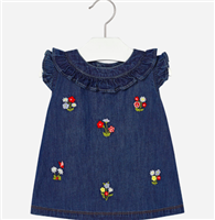 100% cotton denim dress with embroidered flowers and a ruffle trim and neck and sleeve