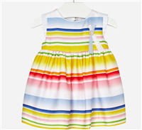 fully lined stripe baby dress with pleated white material on the arms