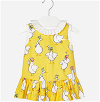 yellow 100% cotton dress with white geese, pleated skirt and white ruffle trim at the top