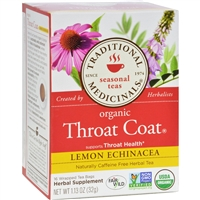 Traditional Medicinals Organic Throat Coat Lemon Echinacea Herbal Tea