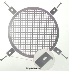 "18"" Black Steel Speaker Grill Waffle Screen with Fasteners - SG18"