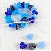 glass beads, Czech glass, Preciosa, blues, 6 x 8mm