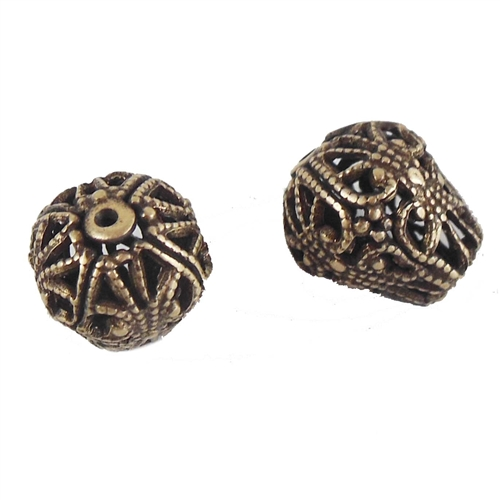 brass beads, filigree beads, brass ox, 07216, B'sue Boutiques, nickel free, US made, vintage jewelry supplies, brass jewelry parts, hollow beads, black antiquing, stampings brass, filigree brass, vintage brass filigree