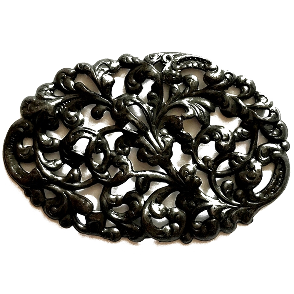 leafy motif filigree, beading filigree, matte black, ebony brass, leafy motif, brass stamping, motif, us made, B'sue Boutiques, leafy, filigree, Victorian style, nickel free, jewelry making, vintage supplies, jewelry supplies, jewelry findings, 03584