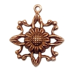 filigree flower drop, old rose ox, filigree, flower drop, sunflower stamping, charms, sunflower, 16x17mm, pieced, stamping, antique copper, brass, flower charm, flower, us made, nickel free, B'sue Boutiques, jewelry supplies, 04860