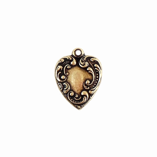 brass hearts, heart charms, jewelry making, jewelry supplies, Victorian hearts, charms bracelets, brass stampings, heart stampings, black antiquing, brass ox, antique brass, Victorian jewelry, 06805