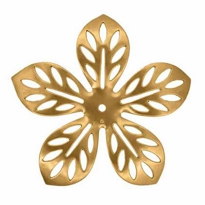 brass flower, raw brass, 62mm